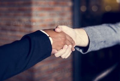 Businessmen shaking hands in a agreeement
