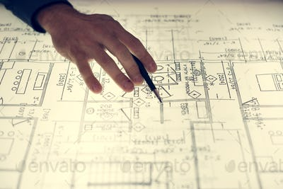 Close up of hands working on layout