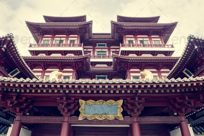 Beautiful view of Tooth relic temple in singapore