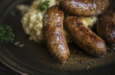 Bangers and mash food photography recipe idea