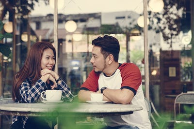 Couple enjoying a hot drink