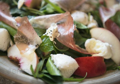 Salad with parma ham food photography recipe idea