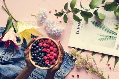 Fresh summer berries and flowers