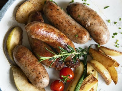Grilled sausages food photography recipe idea