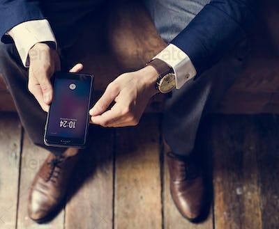 A businessman using a smartphone