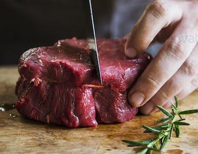 Cutting a fillet steak food photography recipe idea