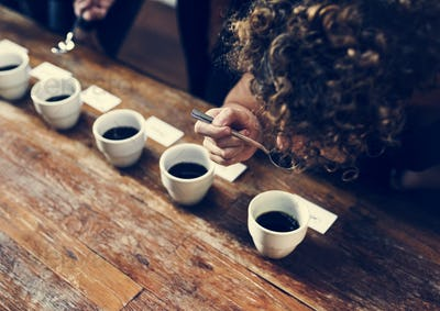 types of coffee placed to taste or smell