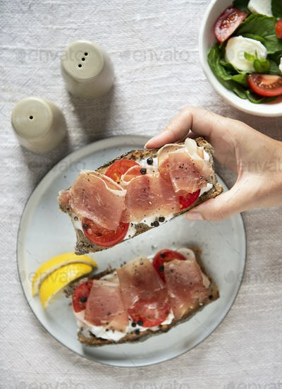Prosciutto sandwich food photography recipe idea