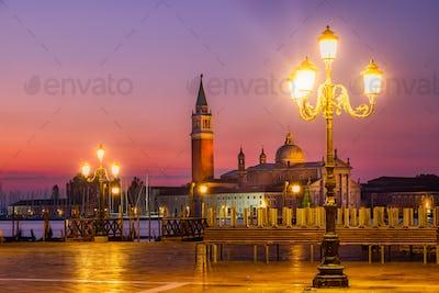 Scenic sunrise view of San Giorgio Maggiore in Venice