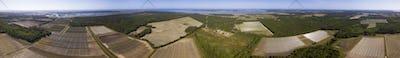 360 degree panorama of farms in South Carolina, USA.