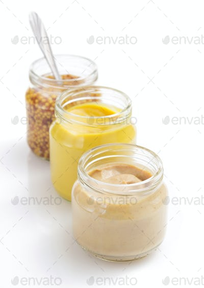 mustard sauce collection on white
