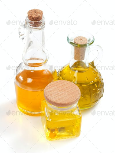 food oil in bottle isolated on white