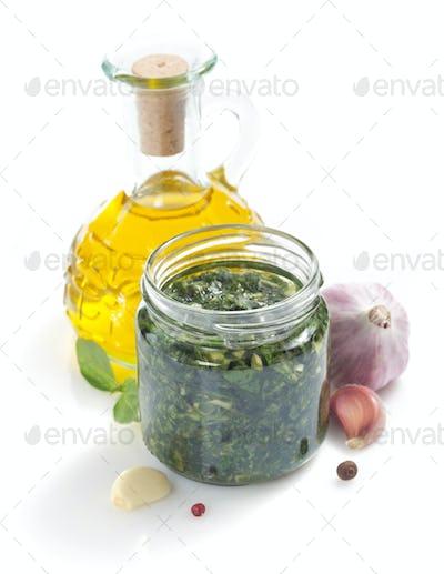 pesto sauce and ingredient on white