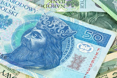 Closeup of 50 pln banknote