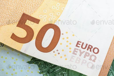 Closeup of 50 euro banknote