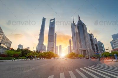 street scene of shanghai century boulevard in sunset