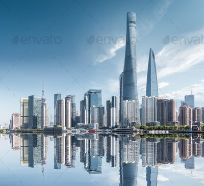 abstract shanghai cityscape, modern building with reflection in sunny