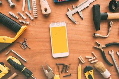 Repairman smart phone with blank screen