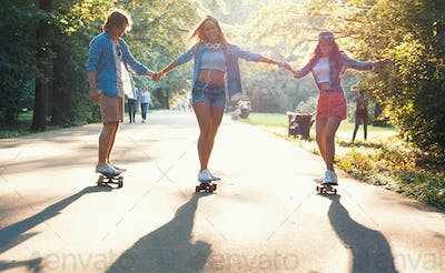 Young active skaters outdoors