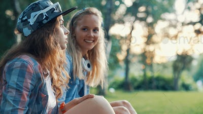 Young smiling girls outdoors