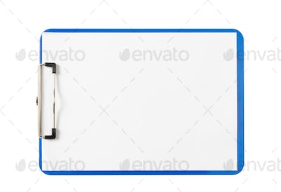 Blue clipboard with blank paper sheets isolated on white background, copy space, top view