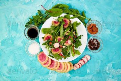 Salad in white plate around Ingredient