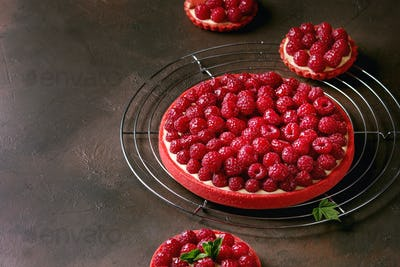 Variety of raspberry tarts