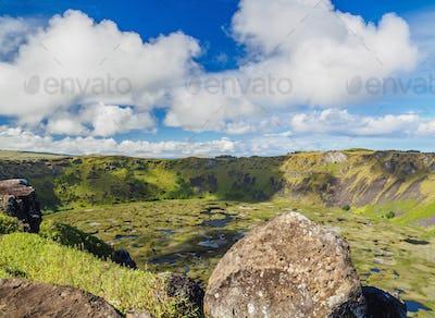 Rano Kau Volcano on Easter Island, Chile