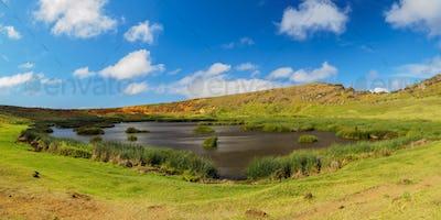 Rano Raraku Volcano on Easter Island, Chile