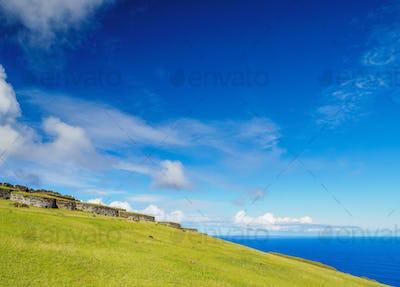 Orongo Village on Easter Island, Chile