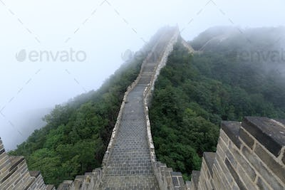 Restored chinese great wall in china