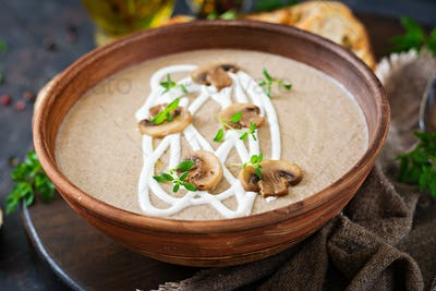 Mushroom cream soup. Vegan food. Dietary menu.