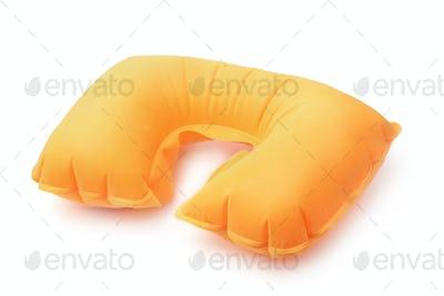 Orange inflatable neck pillow
