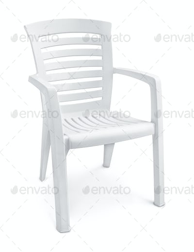 Empty white plastic chair