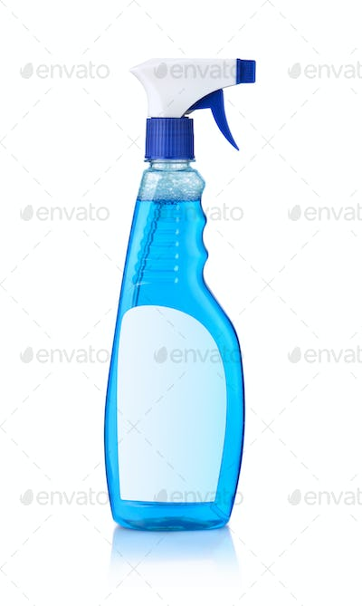 Blue glass cleaner bottle with blank label