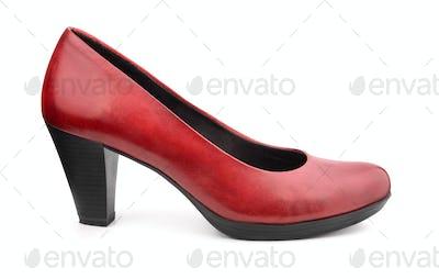 Single red leather women shoe