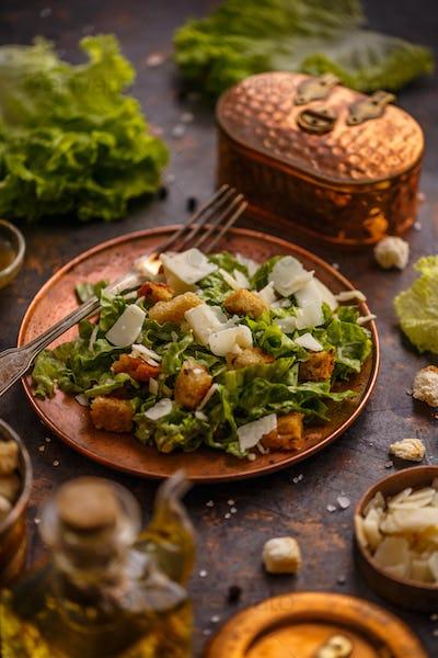 Healthy simple Caesar salad