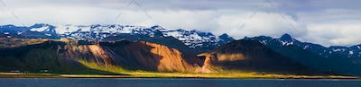 Coastline With Evening Light Panorama, Iceland