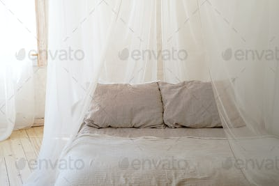 beautiful bedroom with wooden four poster bed