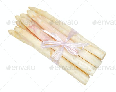 Bundle of white asparagus shoots over white