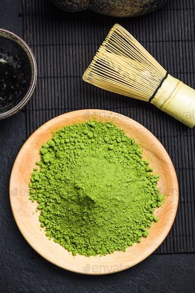 Matcha green powder and bamboo tea whisk