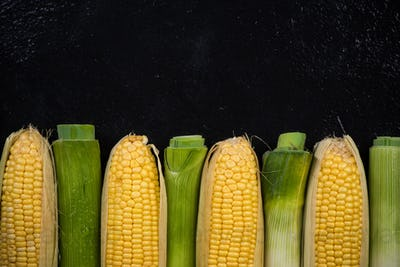 Organic corn and leek vegetables, copy space