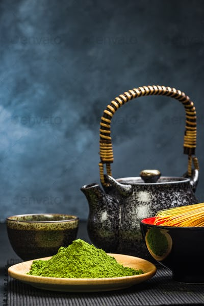 Green matcha tea,tea pot and bowl