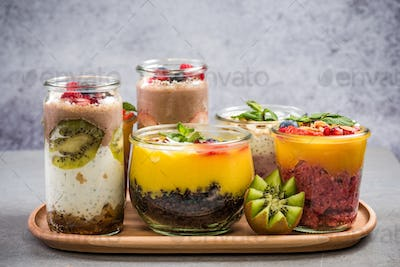 Ripe fruits and superfoods jars