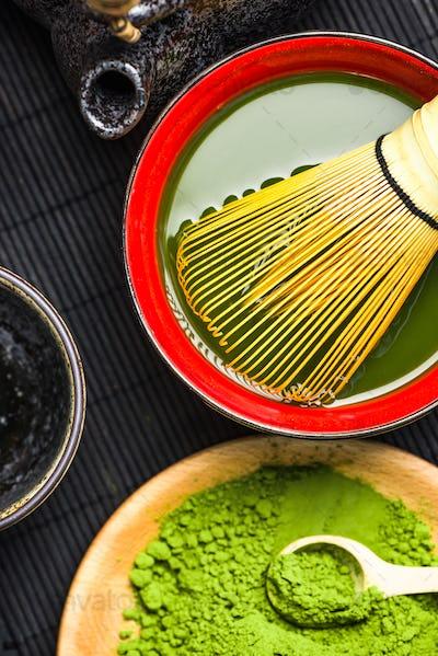 Oriental bowl with green matcha tea