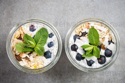 Blueberry,oats and coconut layered jar