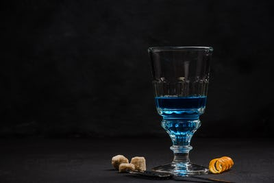Shoot of blue Absinthe, anise vodka