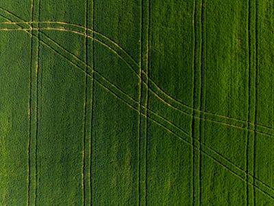 Tractor patterns in  farming fields from drone