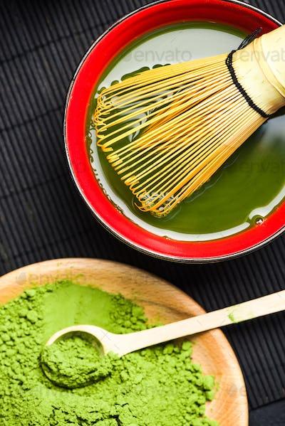 Green matcha tea preparation