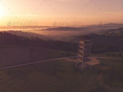 Toned aerial image of mist in rural landscape